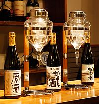 夕食前の利き酒サービス